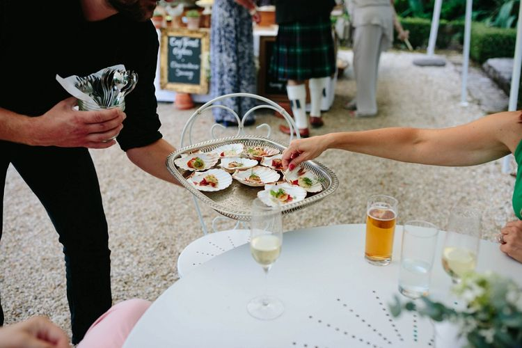 Wedding Canapes | Outdoor Wedding at Chateau Rigaud in France | Real Simple Photography | Yellow Gazelle Film