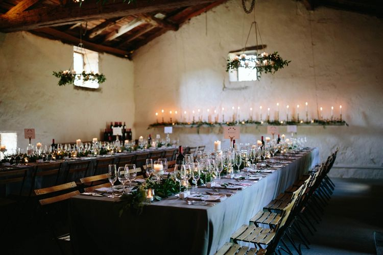 Greenery & Candle Light Wedding Reception | Outdoor Wedding at Chateau Rigaud in France | Real Simple Photography | Yellow Gazelle Film
