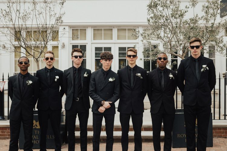 Groom & Groomsmen In Black Shirts & Suits For Wedding