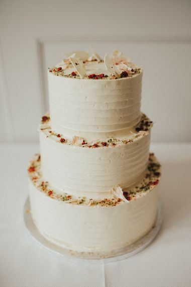 Simple White Buttercream Wedding Cake