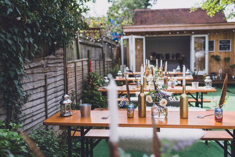 Outdoor Back Garden Wedding Reception