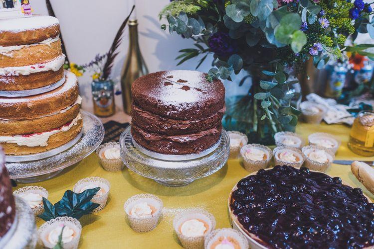 Homemade Chocolate Sponge Wedding Cake Table