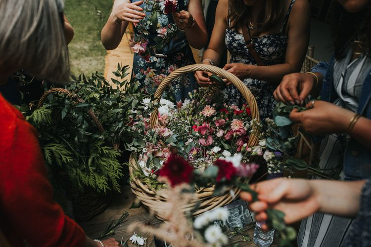 Flower Crown Basket | 2 Day Festival Theme Wedding | Colin Ross Photography