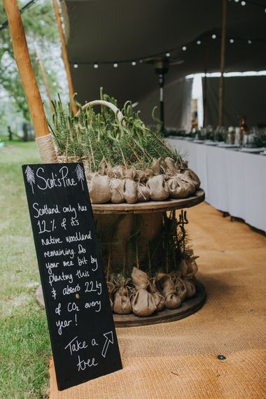 Tree Wedding Favours | 2 Day Festival Theme Wedding | Colin Ross Photography