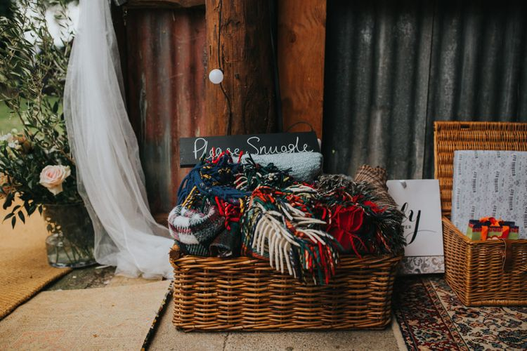 Basket of Blankets | 2 Day Festival Theme Wedding | Colin Ross Photography