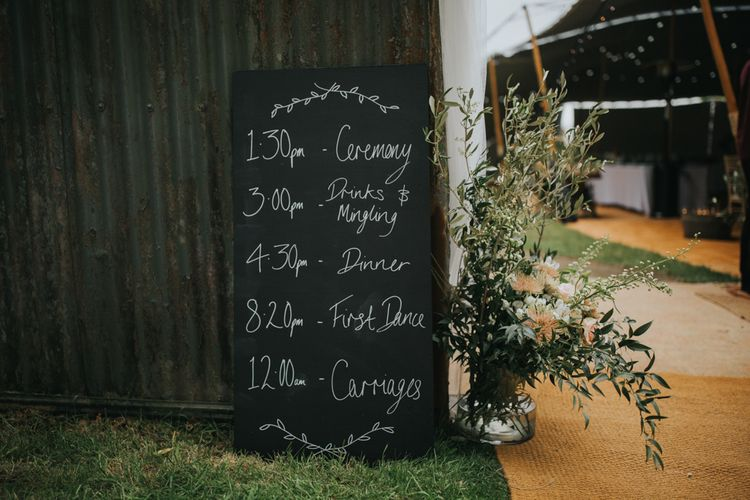 Chalkboard Order of The Day Wedding Sign | 2 Day Festival Theme Wedding | Colin Ross Photography