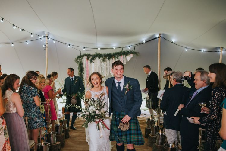 Wedding Ceremony | Bride in St Patrick Gown | Groom in Tartan Kilt | 2 Day Festival Theme Wedding | Colin Ross Photography