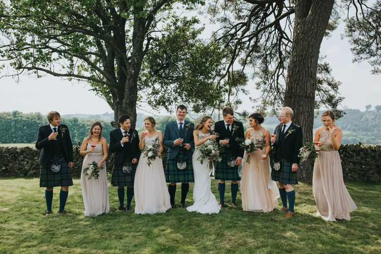 Wedding Party | Bridesmaids in Different Blush ASOS Dresses | Bride in St Patrick Gown | Groomsmen in Tartan Kilts | 2 Day Festival Theme Wedding | Colin Ross Photography