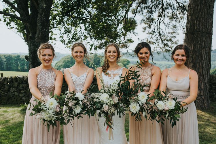 Bridesmaids in Different Blush ASOS Dresses | Bride in St Patrick Gown | 2 Day Festival Theme Wedding | Colin Ross Photography