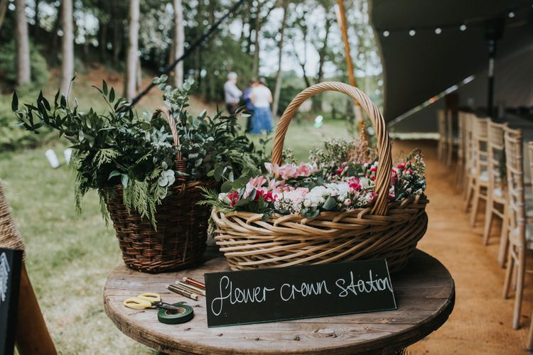 DIY Flower Crown, Flower Baskets | 2 Day Festival Theme Wedding | Colin Ross Photography