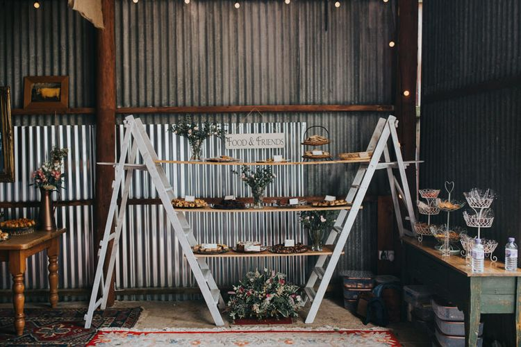 Food on Vintage Step Ladders | 2 Day Festival Theme Wedding | Colin Ross Photography