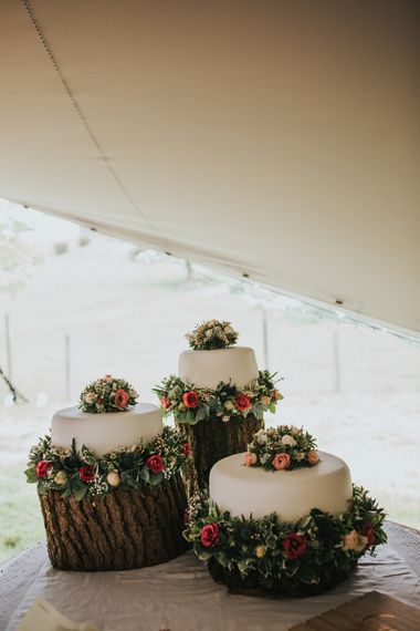 Wedding Cake on Tree Stump Cake Stands | 2 Day Festival Theme Wedding | Colin Ross Photography