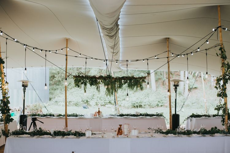 Festoon Lights & Hanging Greenery Installation | 2 Day Festival Theme Wedding | Colin Ross Photography