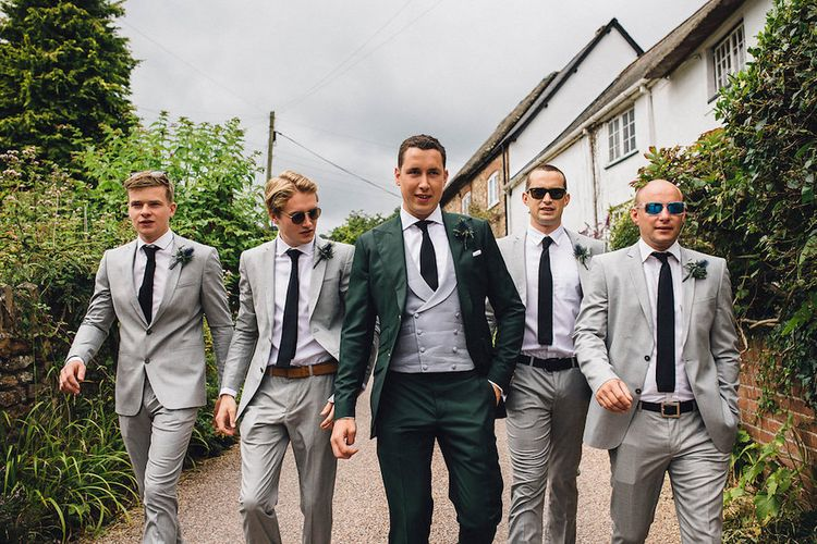 Groom & Wedding Party In Navy and Grey