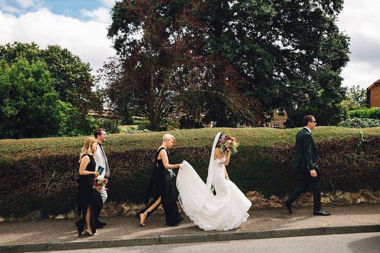 Bridesmaids In Black Dresses