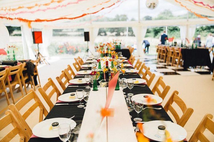 Marquee Wedding With Black And Orange Decor