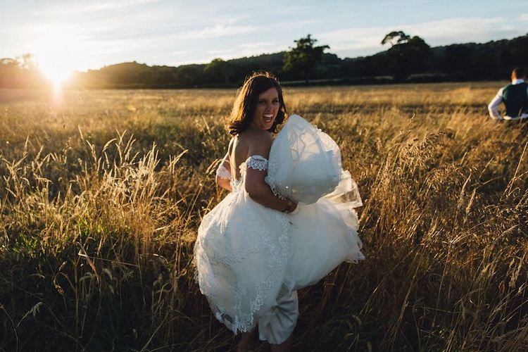 Pronovias Wedding Dress For A Marquee Wedding With Star Lanterns