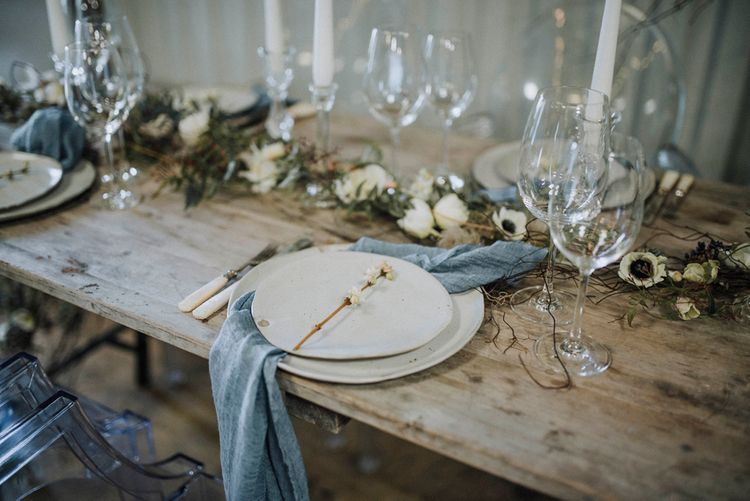 Place Setting | Powder Blue Spring Wedding Inspiration Styled by The Little Lending Co | Megan Duffield Photography
