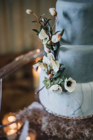 Blue Marble Wedding Cake by Beth Haxby Cake | Powder Blue Spring Wedding Inspiration Styled by The Little Lending Co | Megan Duffield Photography
