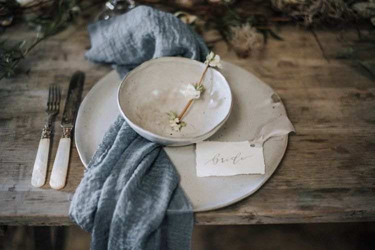 Elegant Place Setting | Powder Blue Spring Wedding Inspiration Styled by The Little Lending Co | Megan Duffield Photography
