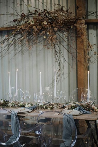 Industrial Tables with Elegant Taper Candles, Glass Candlesticks and Ghost Chairs | Powder Blue Spring Wedding Inspiration Styled by The Little Lending Co | Megan Duffield Photography
