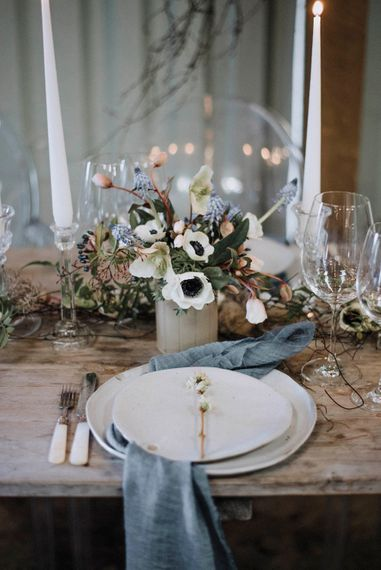 Elegant Place Setting | Anemone Floral Centrepiece | Powder Blue Spring Wedding Inspiration Styled by The Little Lending Co | Megan Duffield Photography