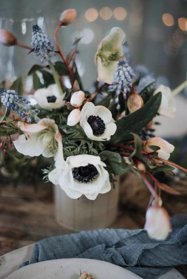 Anemone Floral Centrepiece | Powder Blue Spring Wedding Inspiration Styled by The Little Lending Co | Megan Duffield Photography