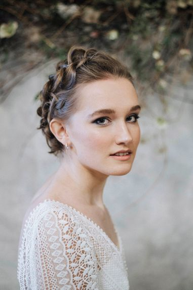 Wedding Makeup | Bride in Rembo Gown from Rock the Frock Bridal | Powder Blue Spring Wedding Inspiration Styled by The Little Lending Co | Megan Duffield Photography