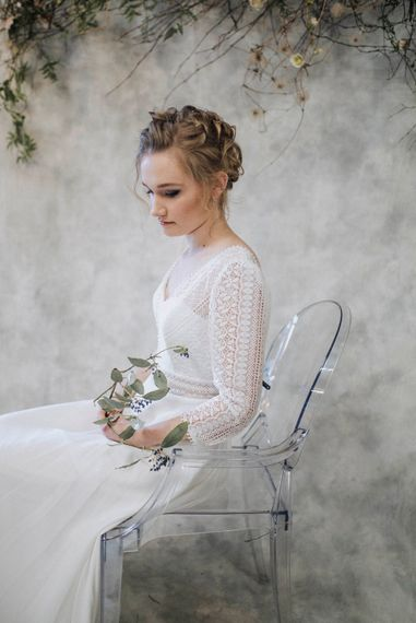 Bride in Lace Rembo Gown via Rock The Frock Bridal | Powder Blue Spring Wedding Inspiration Styled by The Little Lending Co | Megan Duffield Photography