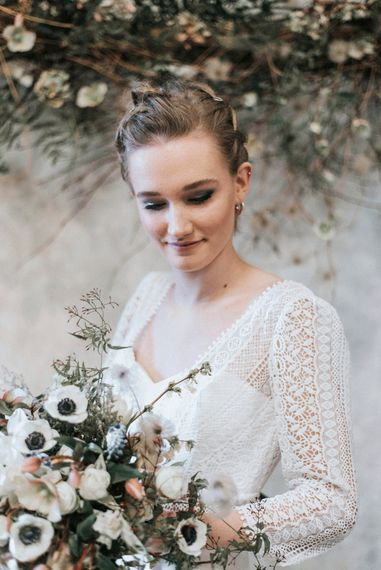 Smokey Eye Wedding Make Up | Bride in Rembo Gown from Rock the Frock Bridal | Spring White Anemone Bouquet | Powder Blue Spring Wedding Inspiration Styled by The Little Lending Co | Megan Duffield Photography