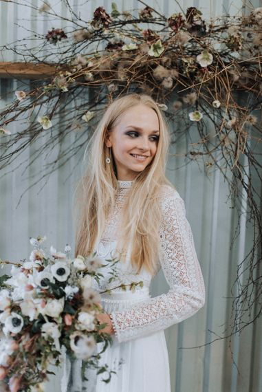Smokey Eye Bridal Make Up | Rembo Gown via Rock The Frock Bridal | Powder Blue Spring Wedding Inspiration Styled by The Little Lending Co | Megan Duffield Photography