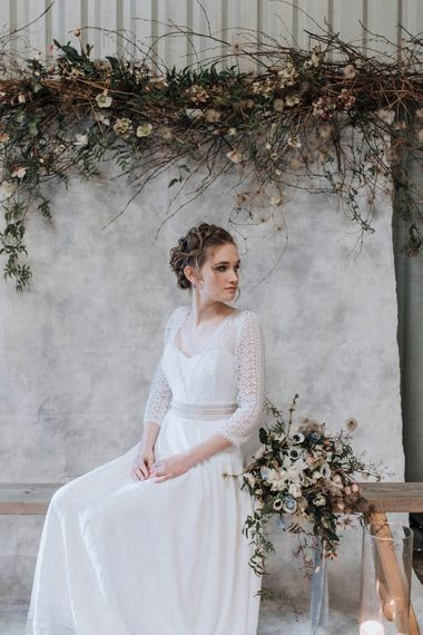 Bride in Rembo Gown from Rock the Frock Bridal | Spring White Anemone Bouquet | Spring Flower Installation by Bracken & Twine Flowers | Powder Blue Spring Wedding Inspiration Styled by The Little Lending Co | Megan Duffield Photography