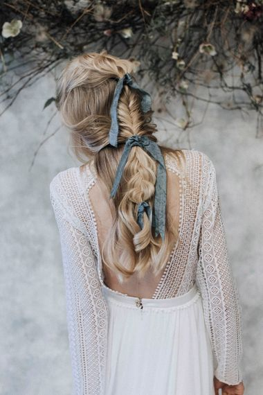 Fishtail Braided Up Do with Silk Ribbon | Bride in Rembo Gown from Rock the Frock Bridal | Powder Blue Spring Wedding Inspiration Styled by The Little Lending Co | Megan Duffield Photography