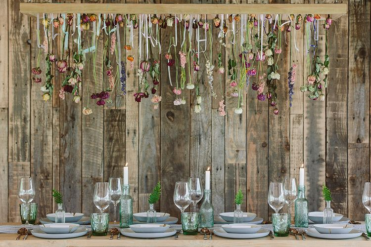 Dried Flower Installation By Lotus Floral Art | Image by Sarah London Photography | Having A Eco Friendly Wedding