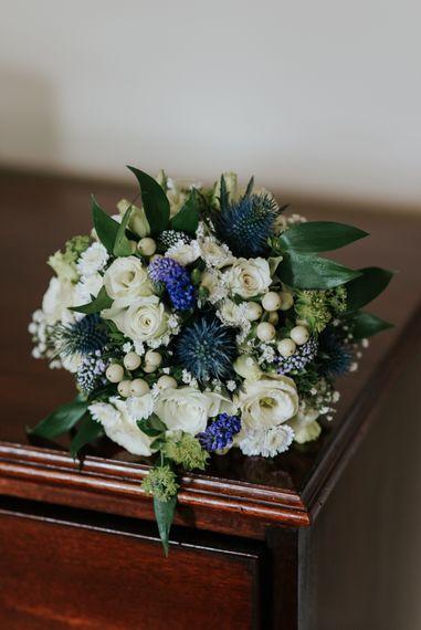 White & Blue Structural Wedding Bouquet