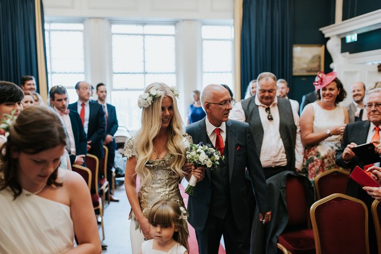 Gold Leather Laser Cut Bridal Gown By Giles Deacon For A Spiritual Wedding At The Stephen's Green Hibernian Club Dublin With Images By Damien Milan Photography & Planning By Italian Eye Weddings