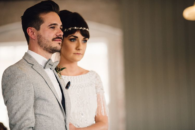 Groom In Light Jacket And Bowtie // The West Mill Derby Wedding With Images From Samuel Docker Photography Bride In Beaded Eliza Jane Howell Dress With Bridesmaids In Mismatched Pastel Dresses