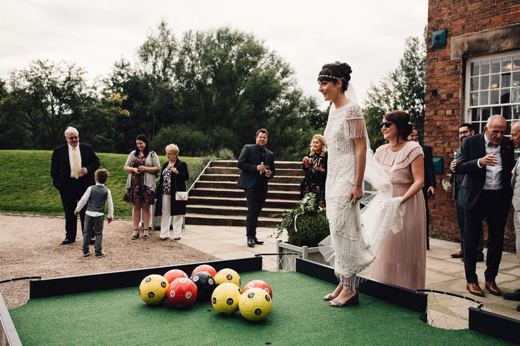 Wedding Garden Games // The West Mill Derby Wedding With Images From Samuel Docker Photography Bride In Beaded Eliza Jane Howell Dress With Bridesmaids In Mismatched Pastel Dresses