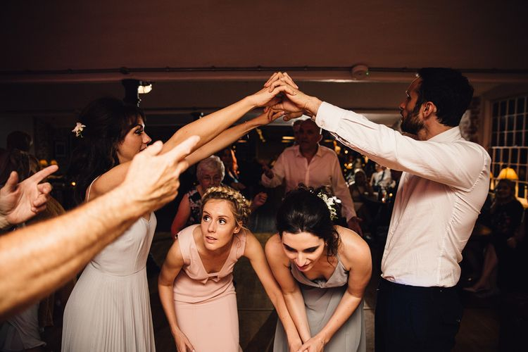 Wedding Ceilidh // The West Mill Derby Wedding With Images From Samuel Docker Photography Bride In Beaded Eliza Jane Howell Dress With Bridesmaids In Mismatched Pastel Dresses