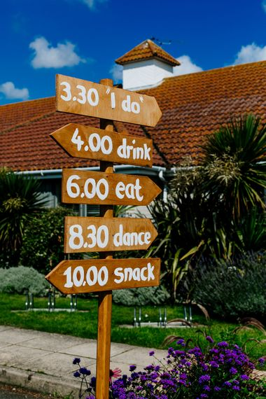 Wedding Sign Post   Colourful Coastal Wedding at The Gallivant in Camber Sands with DIY Decor   Epic Love Story Photography