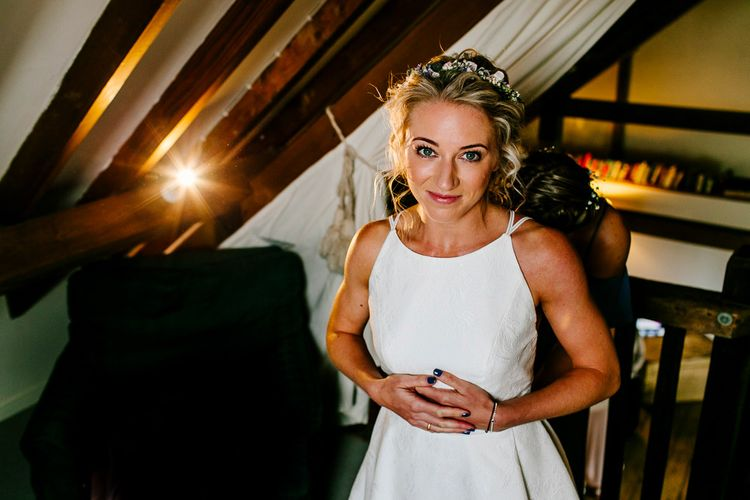 Bride in Jesus Peiro Bridal Gown   Colourful Coastal Wedding at The Gallivant in Camber Sands with DIY Decor   Epic Love Story Photography