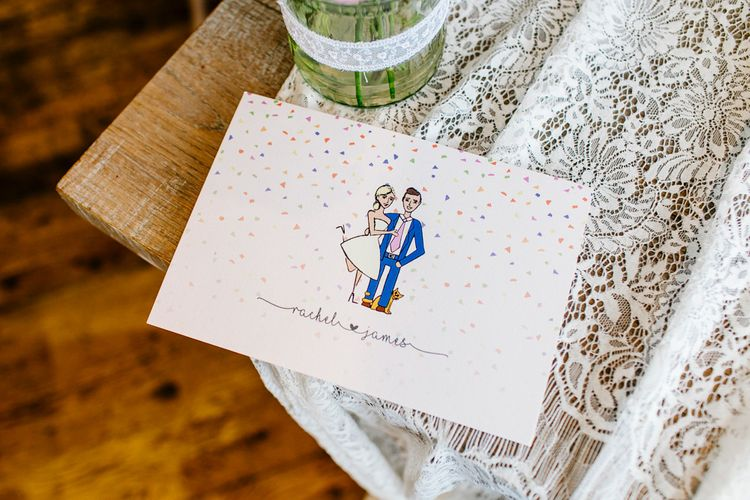Illustrated Wedding Stationery   Colourful Coastal Wedding at The Gallivant in Camber Sands with DIY Decor   Epic Love Story Photography