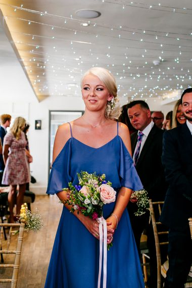 Bridesmaid in Blue ReWritten Cold Shoulder Dress   Colourful Coastal Wedding at The Gallivant in Camber Sands with DIY Decor   Epic Love Story Photography