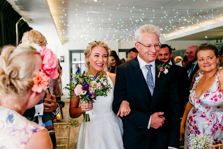 Wedding Ceremony   Bridal Entrance in Jesus Peiro Wedding Dress   Colourful Coastal Wedding at The Gallivant in Camber Sands with DIY Decor   Epic Love Story Photography