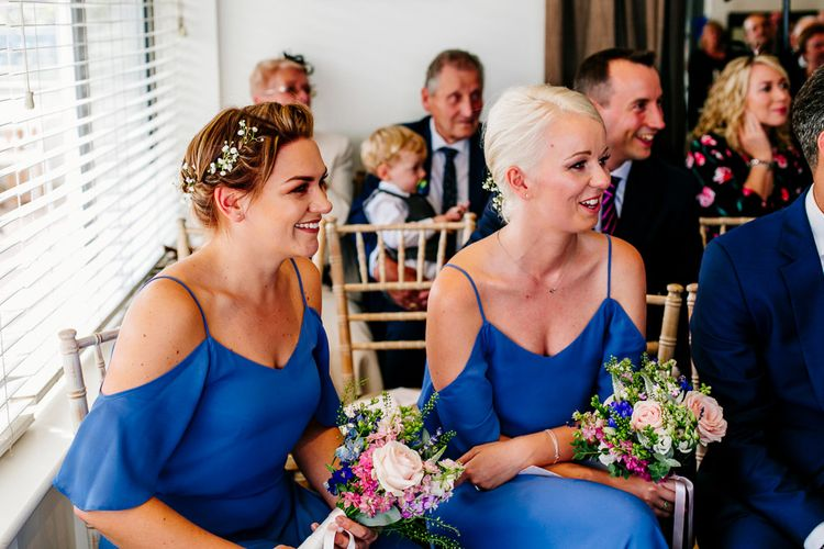 Bridesmaids in Blue ReWritten Cold Shoulder Dresses   Colourful Coastal Wedding at The Gallivant in Camber Sands with DIY Decor   Epic Love Story Photography