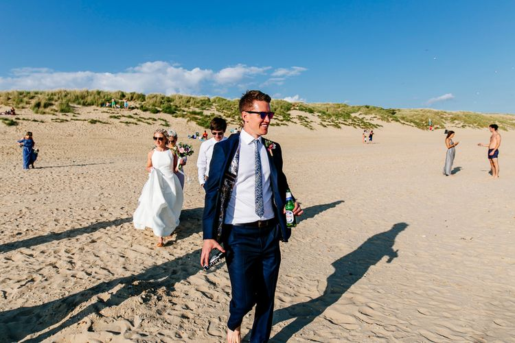Groom in Navy Ted Baker Suit   Colourful Coastal Wedding at The Gallivant in Camber Sands with DIY Decor   Epic Love Story Photography