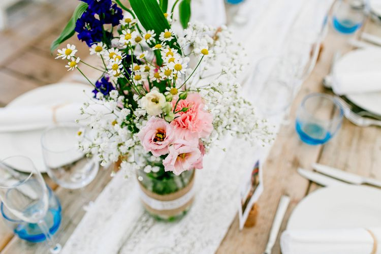 Lace Table Runner, Jam Jars & Wild Flower Decor   Colourful Coastal Wedding at The Gallivant in Camber Sands with DIY Decor   Epic Love Story Photography