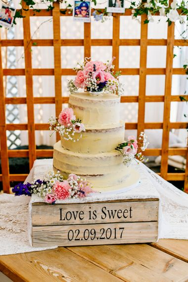 Homemade Wedding Cake on Personalised Wooden Crate Cake Stand   Colourful Coastal Wedding at The Gallivant in Camber Sands with DIY Decor   Epic Love Story Photography