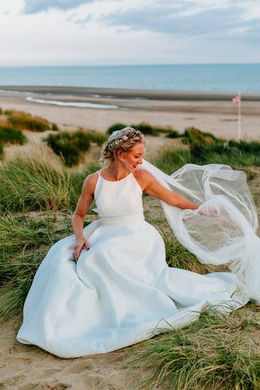 Beach Portrait   Bride in Jesus Peiro Gown   Colourful Coastal Wedding at The Gallivant in Camber Sands with DIY Decor   Epic Love Story Photography