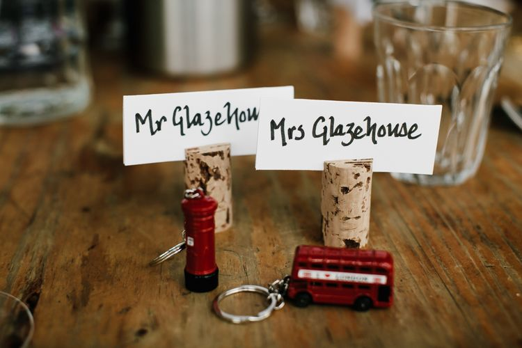 London Red Bus Place Settings | Bright Wedding at The Oyster Shed in London | Chris Barber Photography